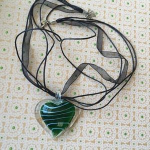 Jewelry - Art Glass Heart Pendant Necklace Green White Clear